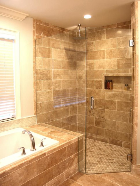 small bathroom tile light walnut travertine with curbless drain 14498