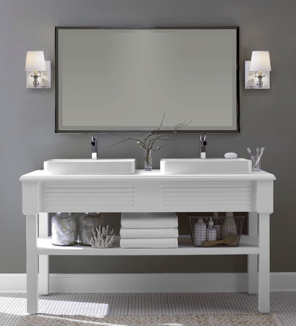 Example of a mid-sized trendy master white floor bathroom design in New York with furniture-like cabinets, gray walls and a vessel sink