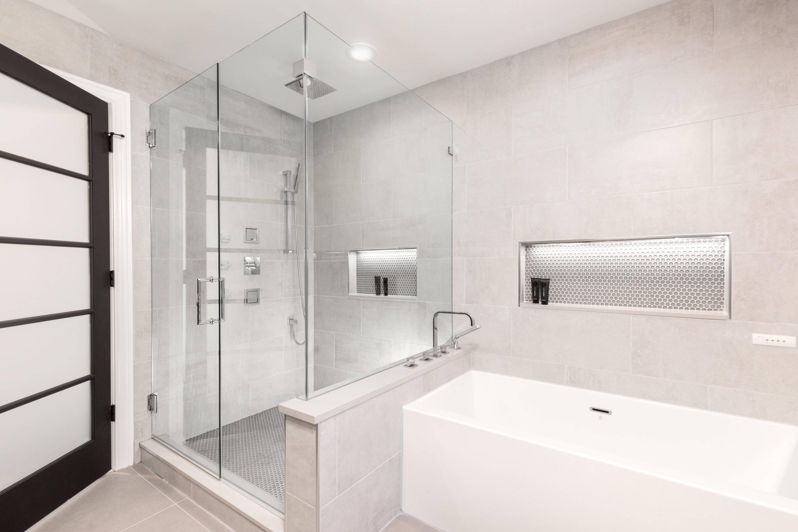 Bathroom - large modern master gray tile and cement tile ceramic tile and gray floor bathroom idea in Detroit with flat-panel cabinets, dark wood cabinets, an undermount sink, quartz countertops, a hi