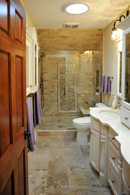 Limestone and Glass tile bathroom traditional-bathroom