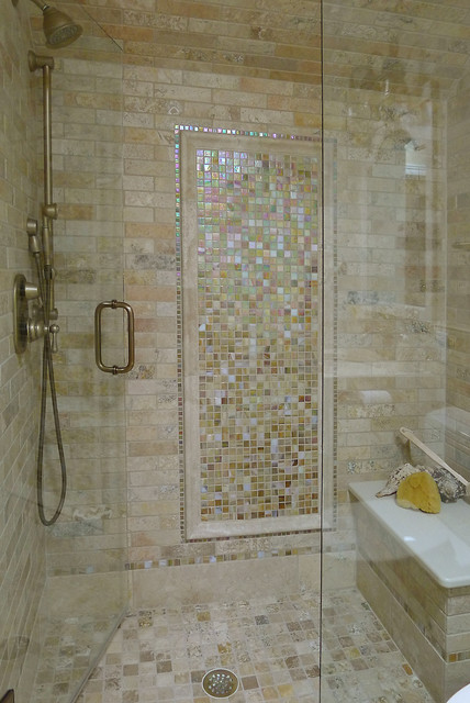Limestone and glass tile bathroom traditional bathroom for Bathroom design ideas mosaic tiles