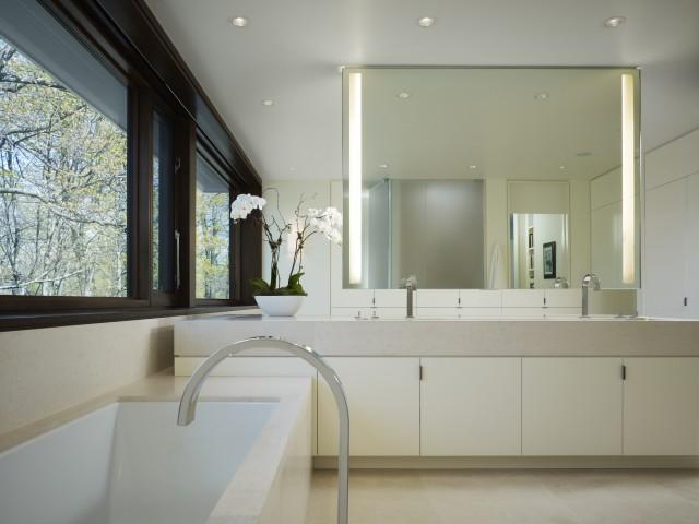 Limestone Master Bathroom Modern Bathroom Chicago