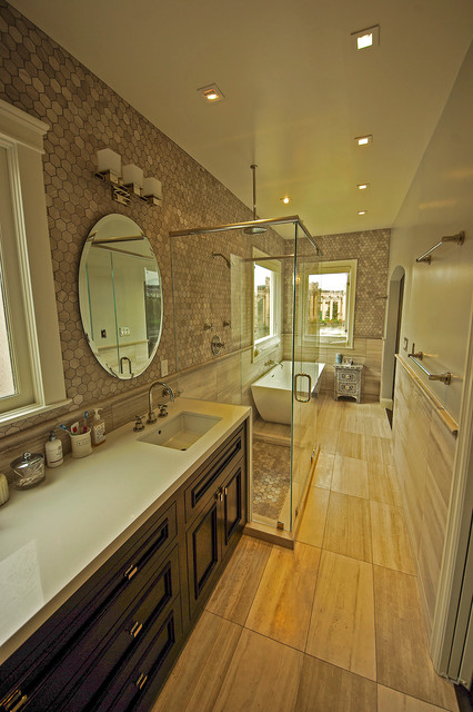Limestone Tile Bathroom Remodel Contemporary Bathroom