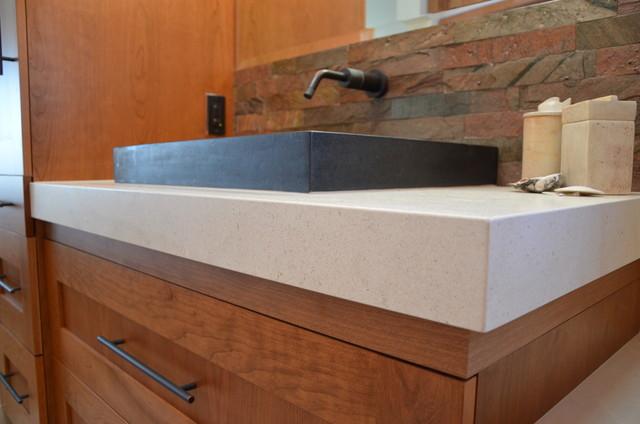 Limestone vanity top tub deck modern bathroom san for Limestone tub
