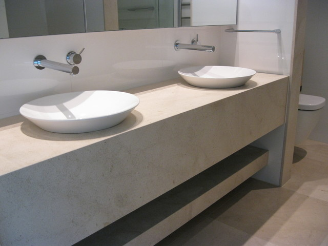 Limestone vanity top shelf modern bathroom sydney for Best bathrooms in australia