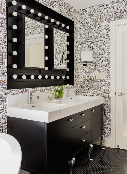 Black Bathroom Vanity Cabinet White Countertops
