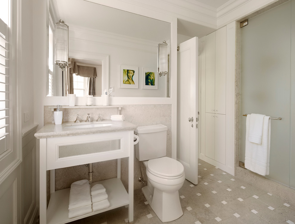 Inspiration for a mid-sized timeless 3/4 porcelain tile and multicolored floor alcove shower remodel in Chicago with an undermount sink, open cabinets, white cabinets, a two-piece toilet and gray walls