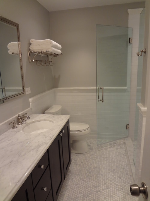 Awesome Chair Rail In Bathroom Part - 14: How Did You End The Chair Rail Next To Shower? Is This Ceramic Tile?