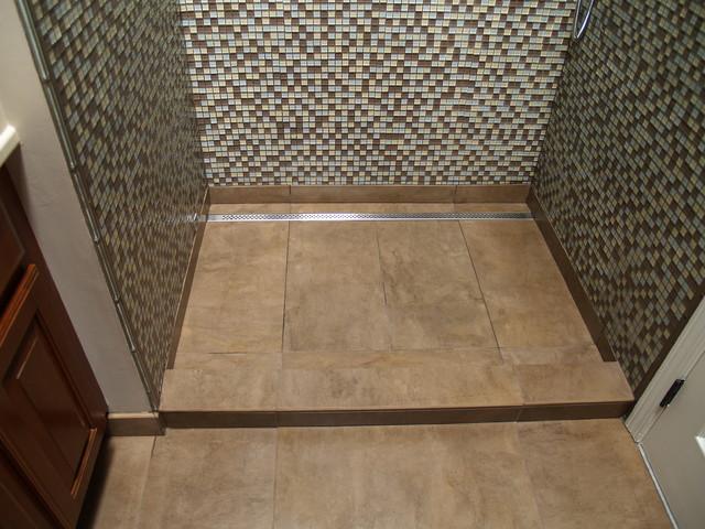 Linear Channel Drain Shower Contemporary Bathroom