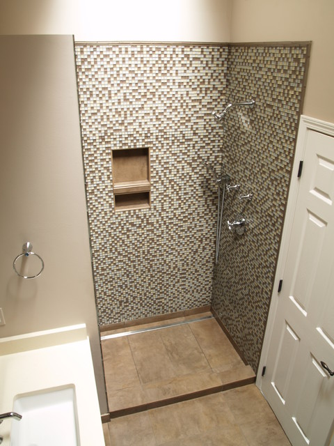 Linear channel drain shower contemporary bathroom