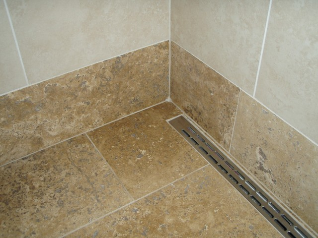 Linear Drain In Walk in Shower Tropical Bathroom