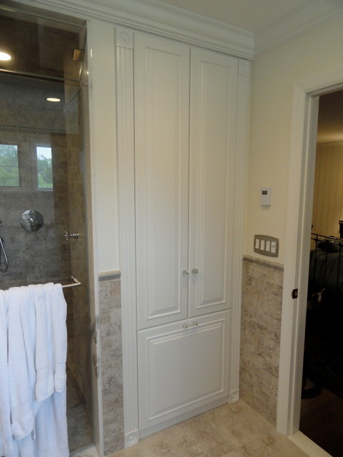 linen closets bathroom cabinets traditional bathroom new york