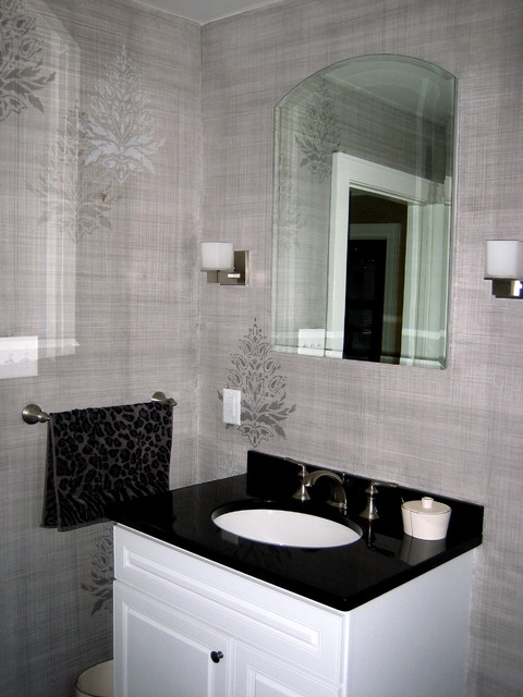 Linen finish with random stencil traditional bathroom for Bathroom finishes