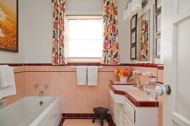 Captivating Example Of A Classic Bathroom Design In Los Angeles With Tile Countertops  And Pink Countertops