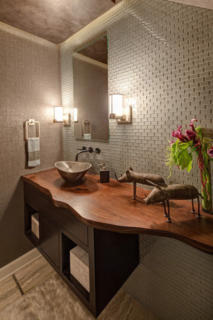 Live Edge Bathroom Counter Eclectic Bathroom Chicago