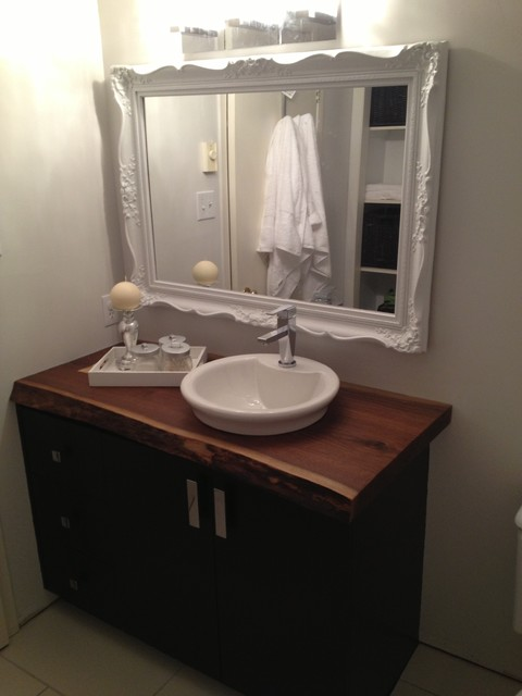 Live edge bathroom countertop traditional bathroom for Bath countertop accessories