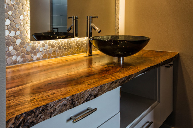 Live Edge Pecan Bathroom Countertop Contemporary