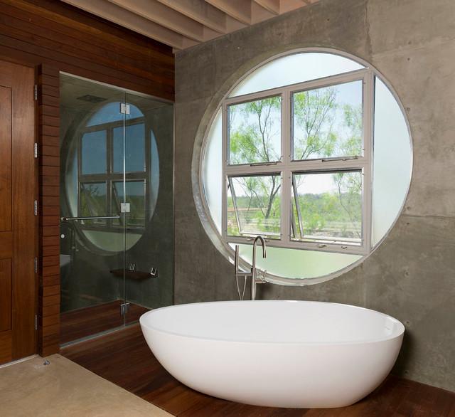 Locomotive ranch trailer modern bathroom austin by for Modern ranch bathroom