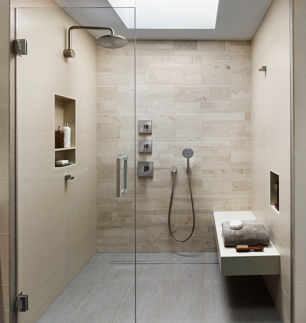 Ordinaire Inspiration For A Modern Beige Tile And Porcelain Tile Porcelain Floor And  Gray Floor Bathroom Remodel