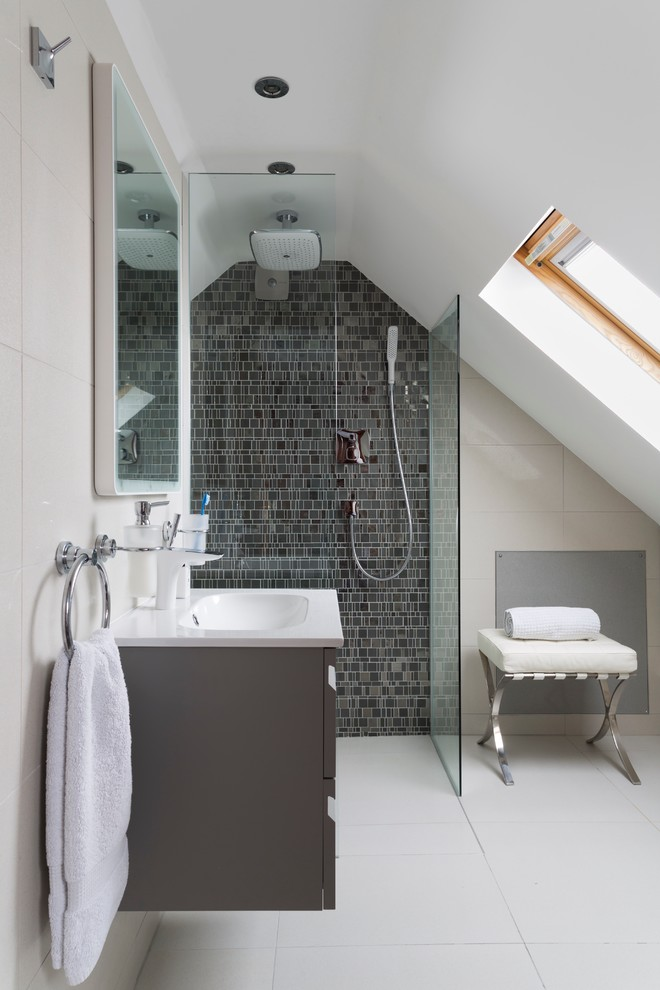 Inspiration for a small contemporary mosaic tile and gray tile walk-in shower remodel in Dorset