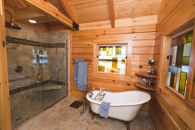 Log home bathrooms rustic bathroom other by for Log cabin bathroom pictures