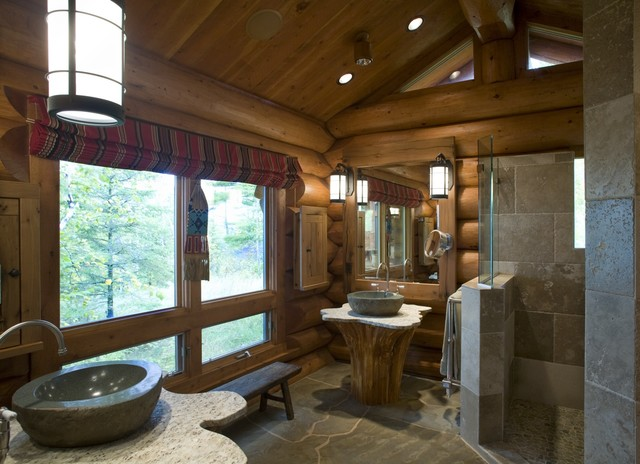 Log home design rustic bathroom minneapolis by for Log cabin bathroom pictures