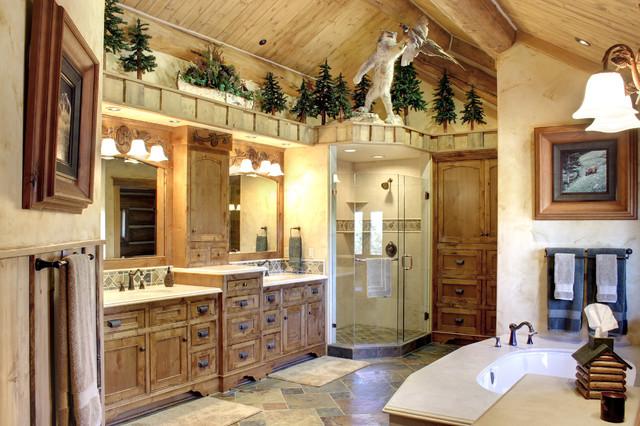 Log Home Living In Big Bear Rustic Bathroom Los