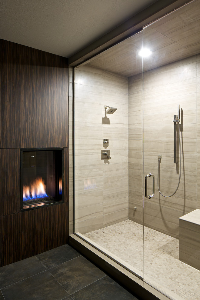 Alcove shower - contemporary alcove shower idea in Denver