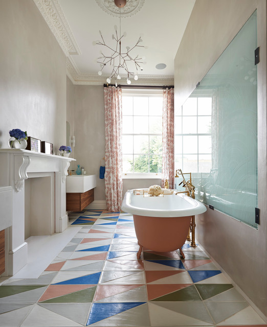 London townhouse notting hill contemporary bathroom for Salmon bathroom ideas