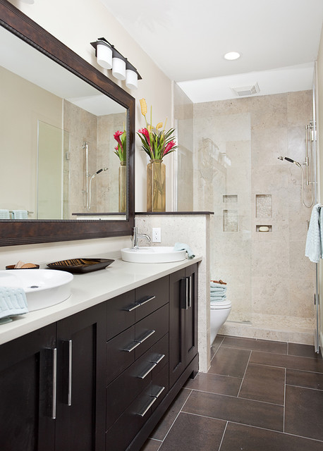 Long and narrow guest bath transitional bathroom for Narrow bathroom designs