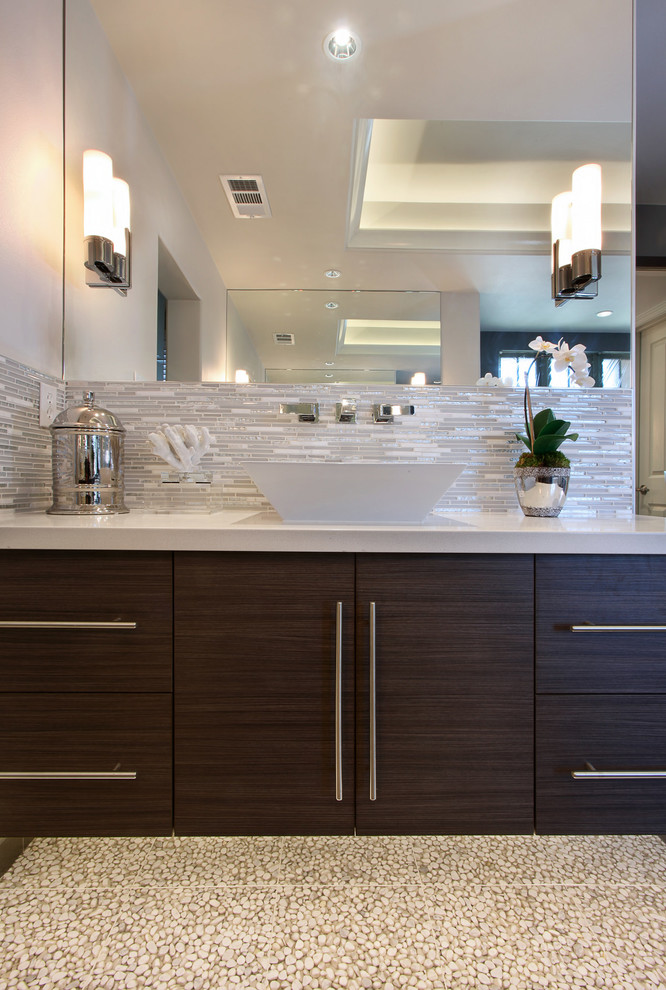 Example of a trendy master bathroom design in Orange County with a vessel sink