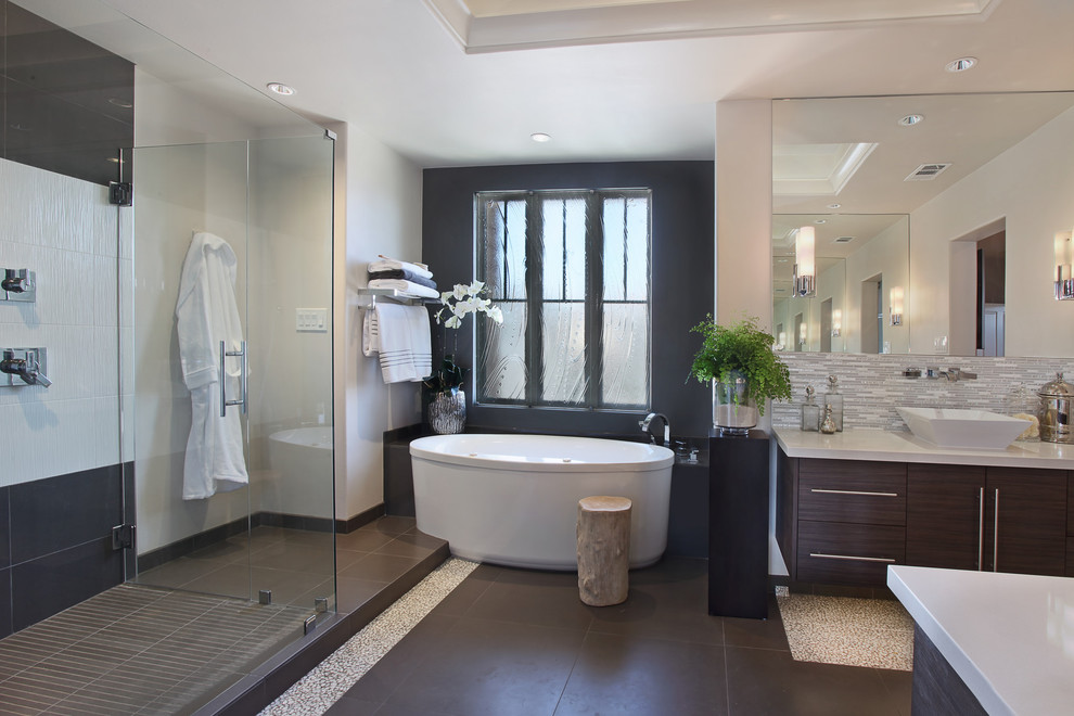 Inspiration for a contemporary master bathroom remodel in Orange County with a vessel sink