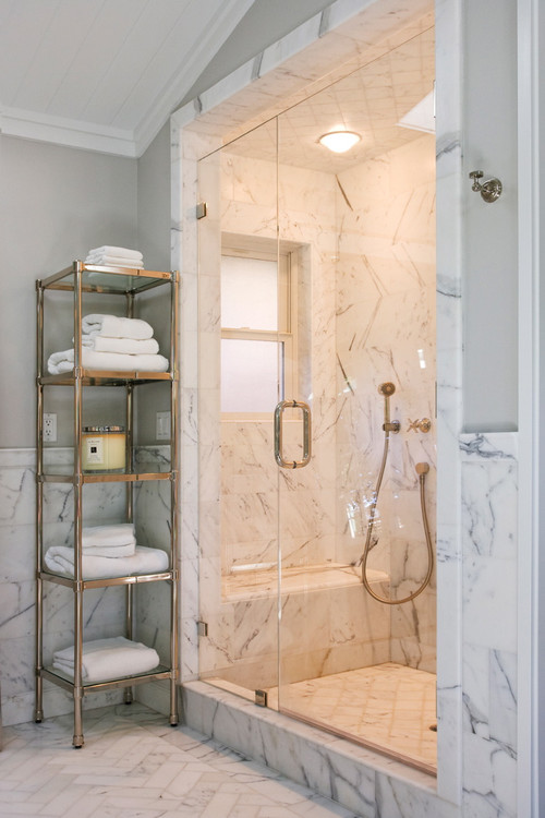 Small bathroom etagere - Cultured Marble Shower Walls Vs Real Marble Shower Walls