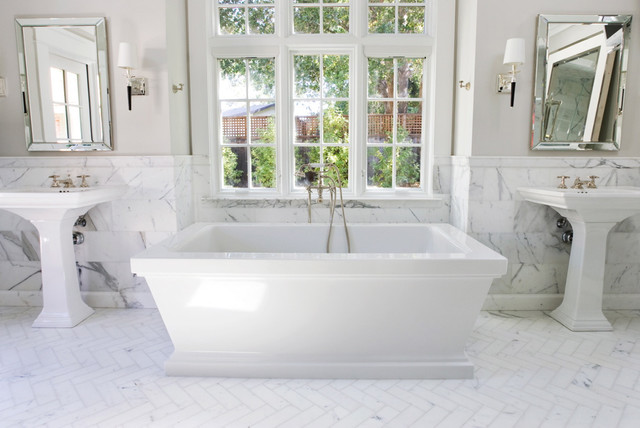 herringbone bathroom floor. Example of a classic subway tile freestanding bathtub design in San  Francisco with pedestal sink Herringbone Bathroom Tile Houzz