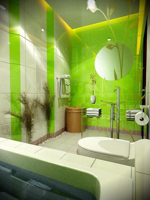 Дизайн зеленых ванных комнат