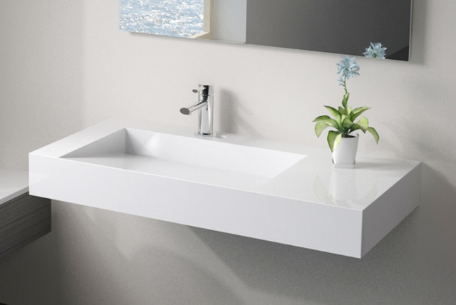 Low Profile Modern Stone Resin Wall Mounted Sink Wt 04