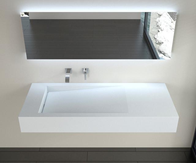 Low Profile Modern Stone Resin Wall Mounted Sink Wt 05