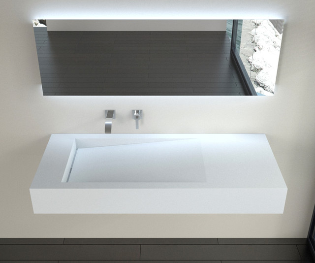 Low Profile Modern Stone Resin Wall Mounted Sink WT 05 Modern Bathroom