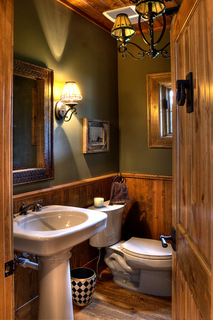 Lower whitefish lake 3 bath for Small rustic bathroom designs