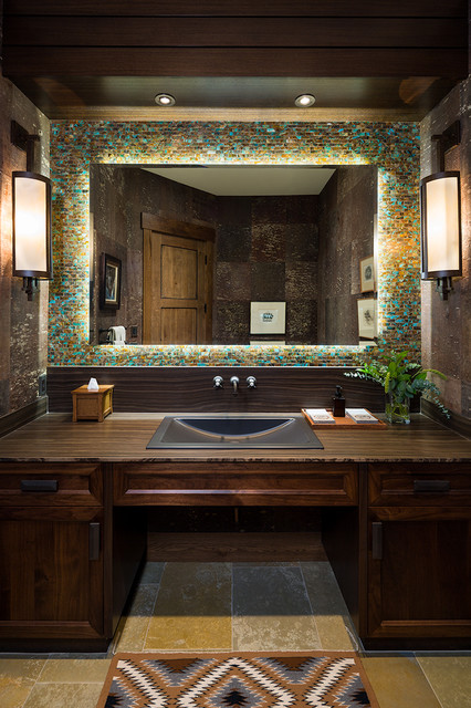 Lucky 13 jackson wyb transitional bathroom for Jackson wy alloggio cabine