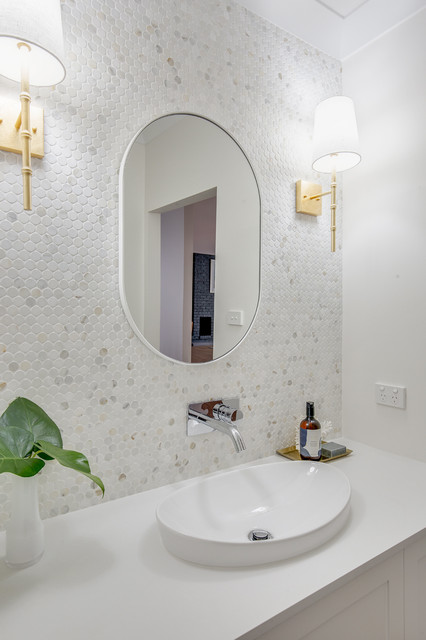 Design ideas for a large contemporary master bathroom in Sydney with flat-panel cabinets, white cabinets, multi-coloured tile, marble, an integrated sink, engineered quartz benchtops and white benchtops.