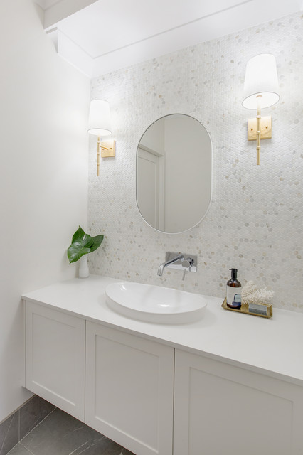 Photo of a large contemporary master bathroom in Sydney with flat-panel cabinets, white cabinets, multi-coloured tile, marble, white walls, porcelain floors, an integrated sink, engineered quartz benchtops, grey floor and white benchtops.
