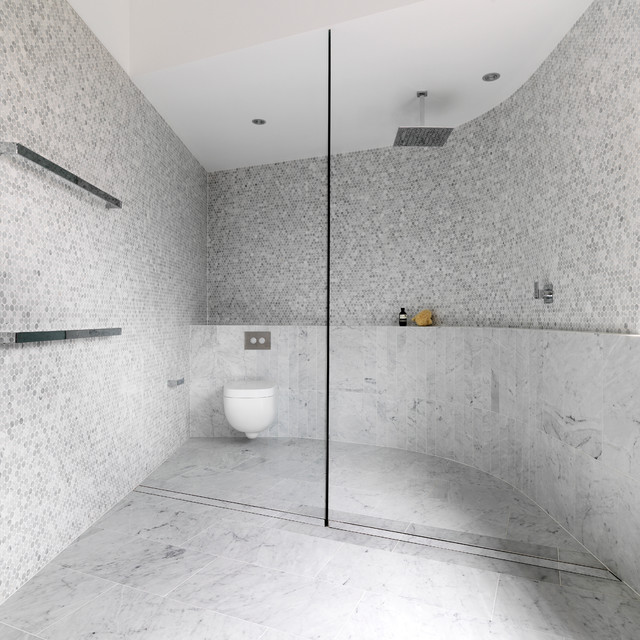 Trendy gray tile and mosaic tile bathroom photo in Sydney with a wall-mount toilet