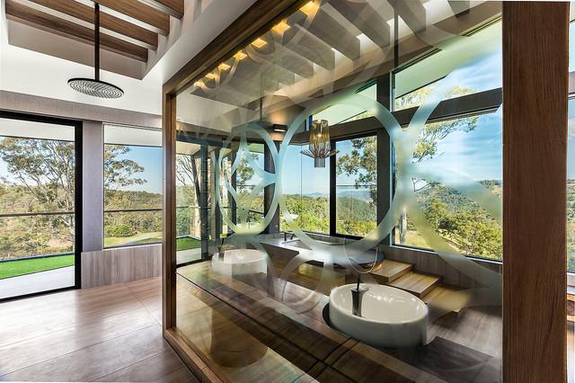 luxe lodge  master ensuite  one way mirror shower  contemporary, Bathroom decor
