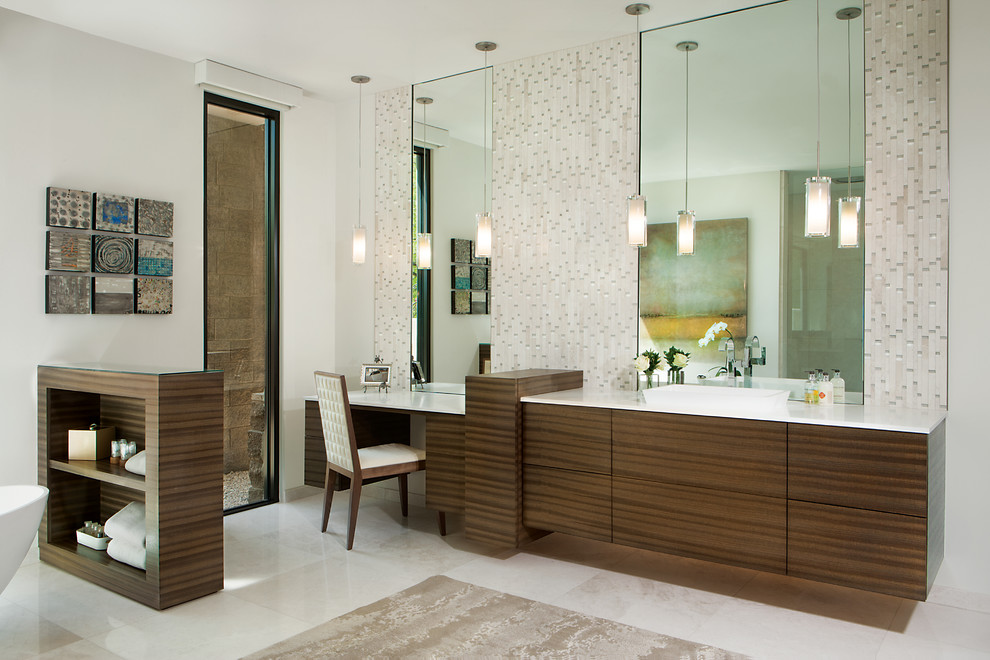 Bathroom - large contemporary master beige tile and matchstick tile marble floor and white floor bathroom idea in Phoenix with flat-panel cabinets, medium tone wood cabinets, white walls, a vessel sink, quartz countertops and a one-piece toilet