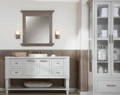 Luxurious Lakeshore Cottage Powder Room beach-style-bathroom