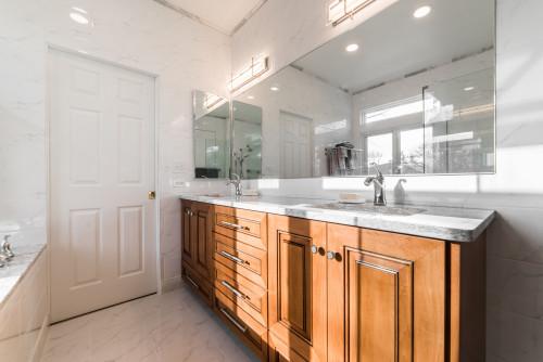 Carrara Marble Countertops in Bathroom Remodel in Kane County IL