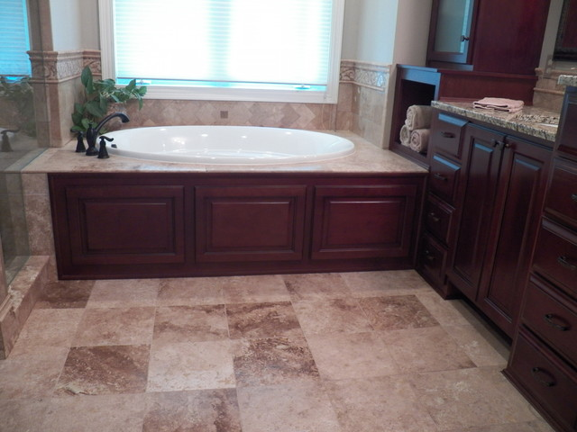 Luxurious Solid Maple Master Bathroom Cabinetry With Tub