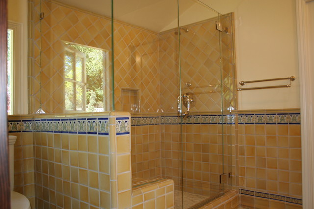 luxurious spanish tiled shower mediterranean bathroom - Luxury Tile Showers