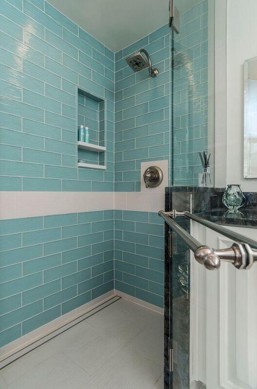 Teal Glass Master Bathroom, White And Teal Bathroom